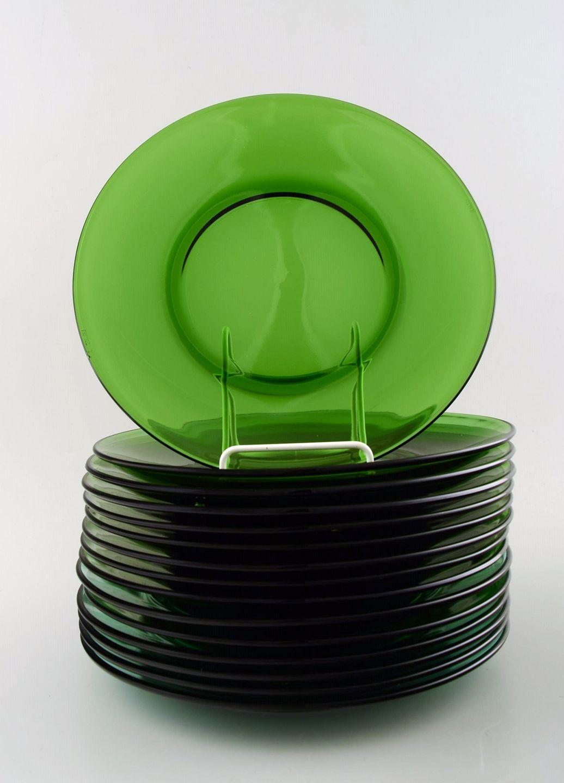 Populære www.Antikvitet.net - Vereco, Frankrig, 15 tallerkener i grønt YY-34